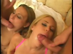 Two babes blowing cock and getting facials