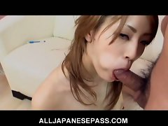 Slutty japanese teen loves blowing this cock