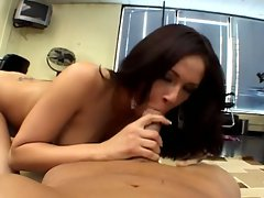 Gorgeous brunette babe naugty office fuck session
