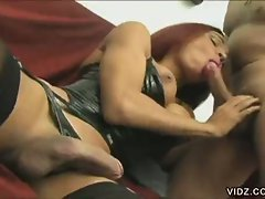 Transsexual raissa shares some cock blowing action