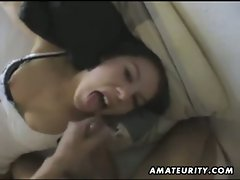 Tied up amateur girlfriend gives head and eats cum