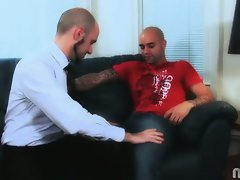 Bald gay lovers blake johnson and sam swift naughty on couch