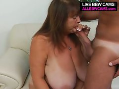 Mature bbw huge tit mercy gets picked up for blowjob