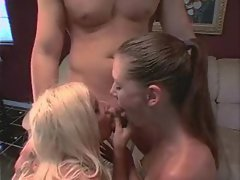 Puma Swede and her friend take turns blowing a lucky guys cock until he cums
