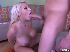 Horny Candy Manson blowing a long hard thick cock on her kneels