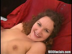 Hot slut Holly Wellin loves blowing a large cock and takes a creamy cumspray