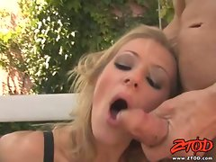 Hot Jane Darling blowing and deep throating a big cock outside