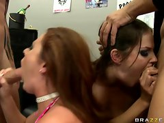 BAbes ophiee Dee and Bobbi Starr blowing hard cock together and loves it