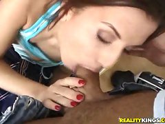 Myra Lyon gets a mouth full of some crazy jizzing after some good blowing
