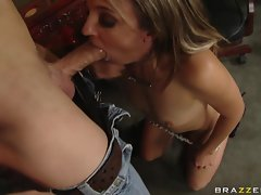 Blond beauty Lexi Love gorges herself on a tremendously big dick