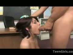 Cock blowing  teen Dahlia Denyle gets a deep throat from a hard pole