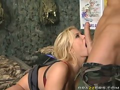 Sexy slut Shyla Stylez gags while blowing a nice hard cock