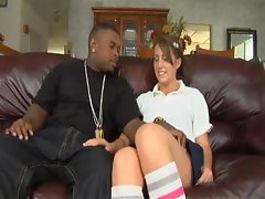 Super hot honey Nikki Anne sizzles as she takes on a big black meat pole