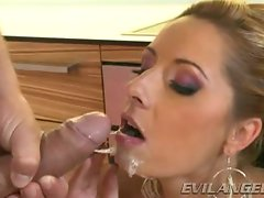 Daria Glower gets her face glazed with warm jizz