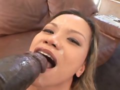 Streched out and Moaning Mika Kani cums all over this monster black dick