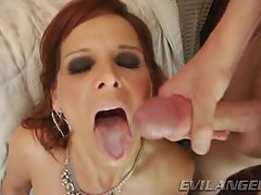Saucy Syren Demer gets a mouth full of warm cock juice