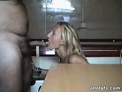 Blonde girl blowing cock