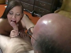 Horny Teen Sucks Her Older Neighbours Cock