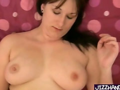 Big girl puts lotion and plays with cock
