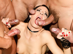 Extreme hardcore! Poor girl brutally gang banged by a bunch of rough guys!
