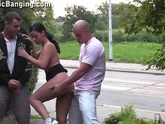 PUBLIC DOUBLE PENETRATION action on the street AMAZING!