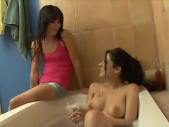 Two brunette babes eat out each others hot pussies