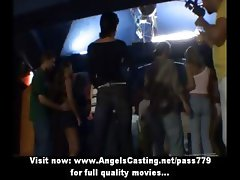 Teen party with hot young girls dancing and smiling in disco