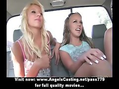 Three hot blonde lesbian chicks flashing tits while taking a ride