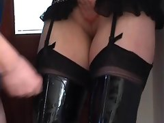 Whore Dirty wife Lets Stranger Spunk Over Her Thigh Boots