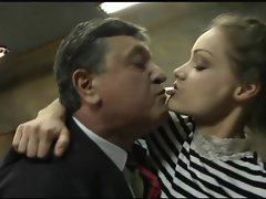 2 Old men fuck 2 young beautiful girls