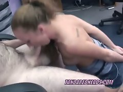 Petite coed leigh on her knees and blowing a geek