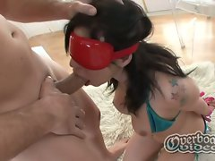 Horny brunette temptress gagging for extreme blowing pleasure