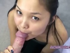 Asian cock sucking lucy on her knees and blowing hairy geek