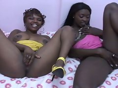 Cute brunette ebony lesbians show how to lick pussy