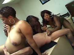 Three ebony girls go to his office to suck his cock