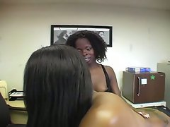 Cum swapping with a hard dicks vs two ebony slut