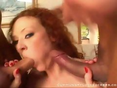 Massive boners taking red haired hottie for double blowing fun