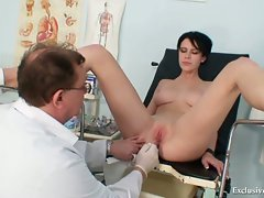 Brunette babe Rita examined by gyno doctor