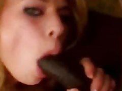 Hot girl blowing a big black cock