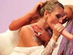 Two brides and a dildo get it on