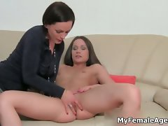Alluring dark haired lady is stroking her part6