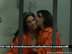 Two attractive randy chicks in prison undresses