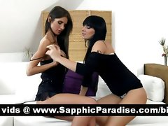 Sexual dark haired lezzies kissing and having lesbo love