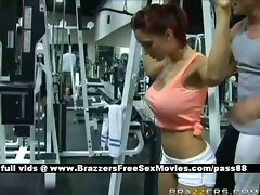 Sensual redhead cutie at the gym