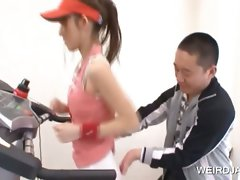 Sassy teen asia gets assets tease in the gym