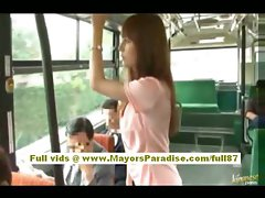 Rio asian teenager slutty girl getting her shaggy cunt caressed on the bus