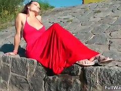 Sensual redhead girlie in a red dress gets part6